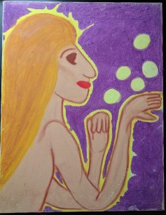 yellow bubble lady painting